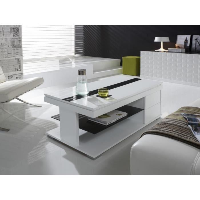 Table basse relevable blanc laqué design ELSYE Blanc