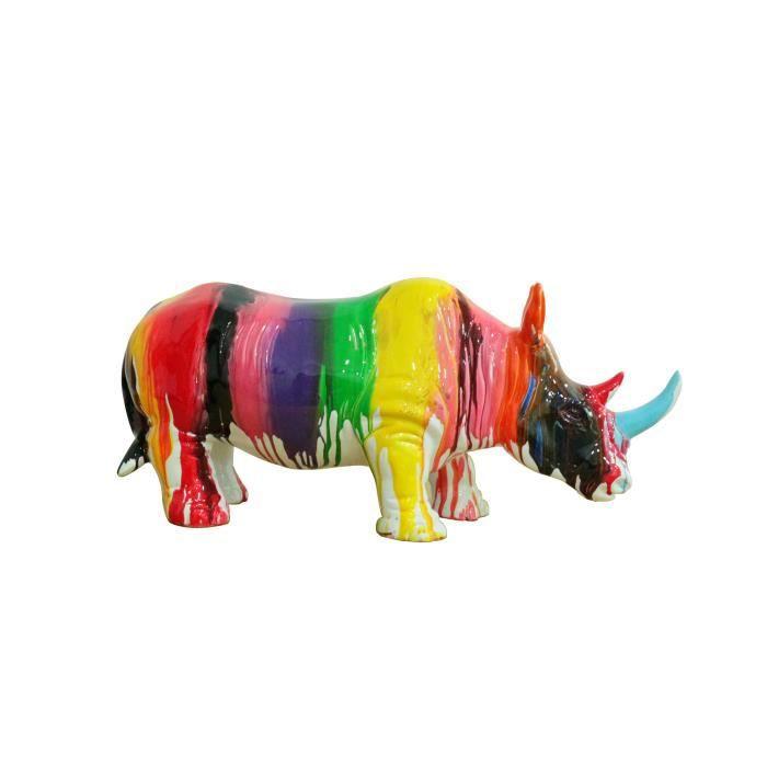 Rhinocéros statue décorative - laquée jets de peintures multicolores avec corne bleue - objet design moderne