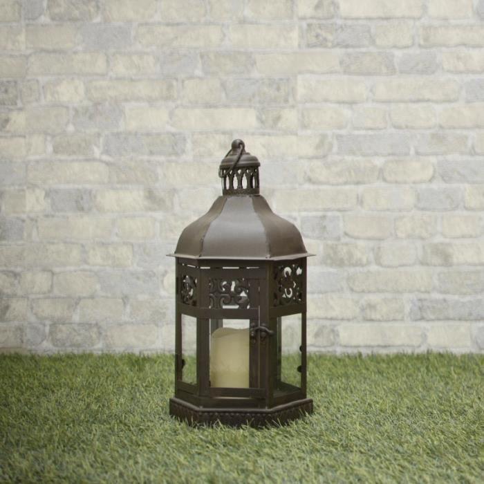 Lanterne Marron Fer Métal Style Tempête 46 cm - 10705M-PM-BIS