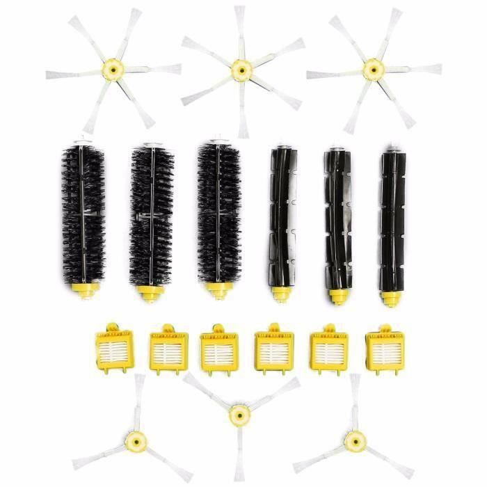 18 Pcs Kit Brosse Latéral Filtre Nettoyage Pour Aspirateurs iRobot Roomba 700 760 770 780 Serie FR45112