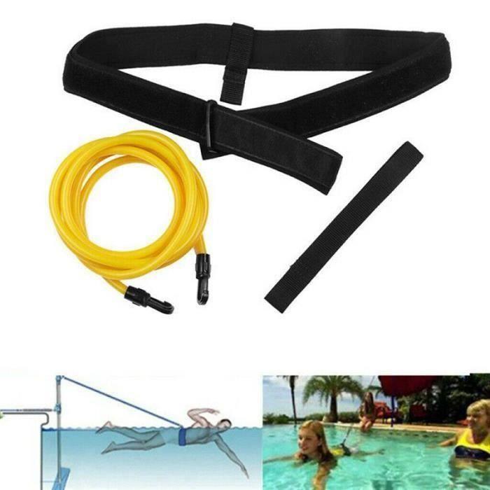 Ensemble de ceinture de résistance à la natation Bande d 'entraînement pour la natation Ceinture élastique - 6x9x400mm - JAUNE
