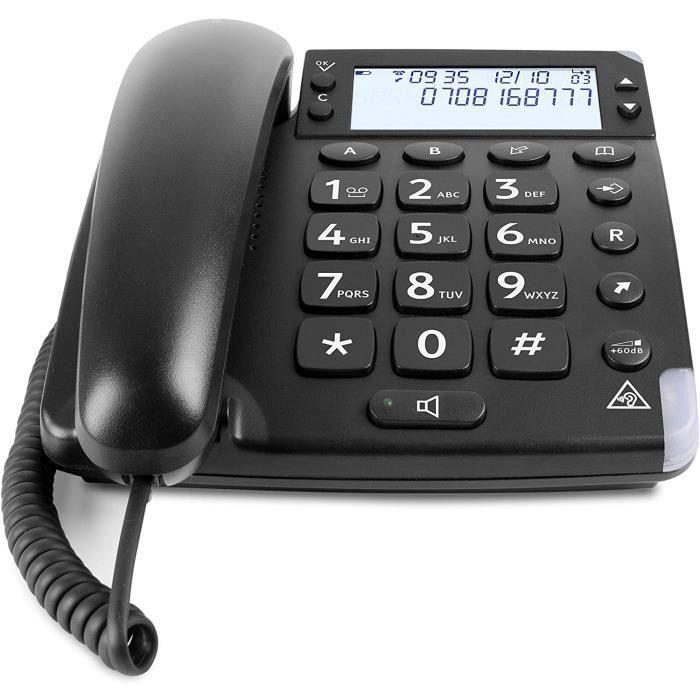 Doro Magna 4000 Téléphone Fixe pour Seniors avec Touches Espacées, Grand Ecran et Son Amplifié