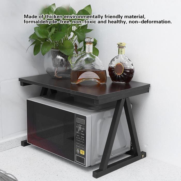 étagère Support de four à micro-ondes 57 *38 *38cm de rangement pour armoire de cuisine de comptoir à 2 couches - Noir -JIL