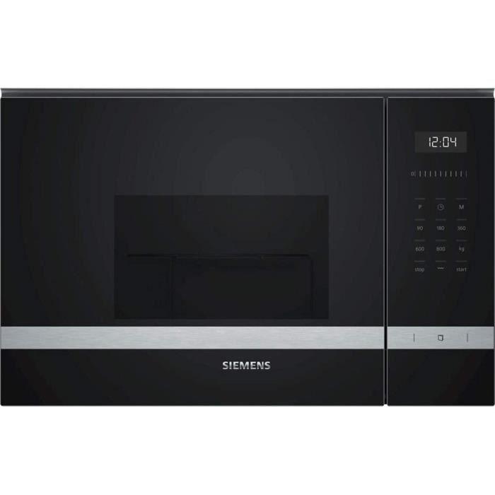 Siemens BE525LMS0 iQ500 Micro-ondes encastrable 38 cm 20 l 800 W Grill 1000 W Noir et acier inoxydable