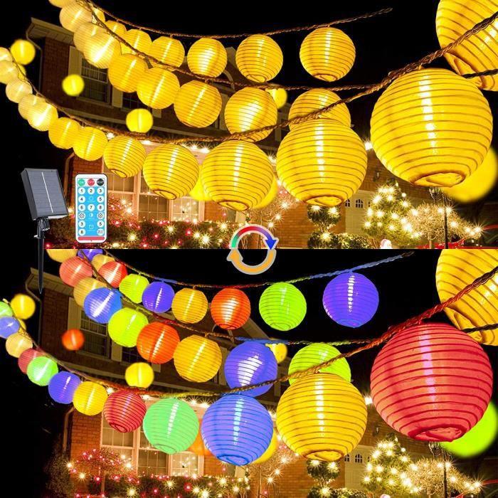 guirlande solaire exterieur Guirlande lumineuse solaire 10 m avec 40 lampions LED blanc chaud et multicolore, &eacutetanche, int129