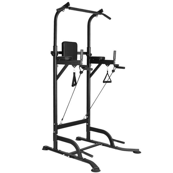 YEZOOS Station Traction dips Multifonctions, Pull up Fitness Barre de traction ajustable Banc de Musculation Power Tower