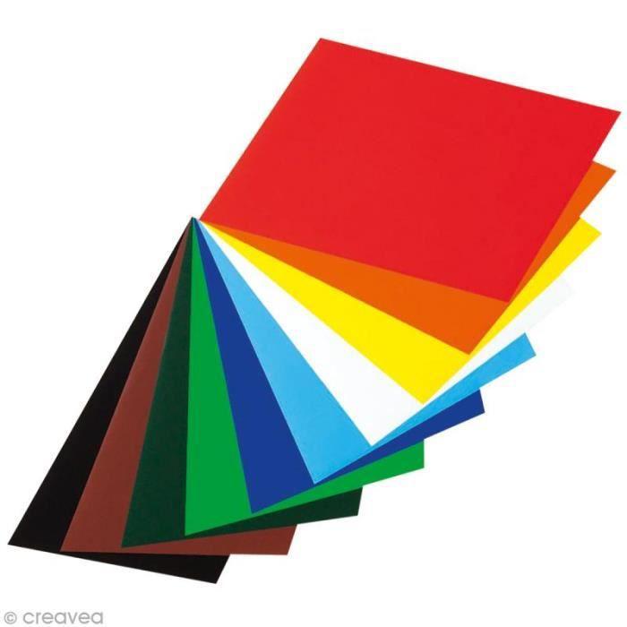 Papiers brillants gommés 28,5 x 29,7 cm - 10 feuilles colorées Assortiment de papiers gommés brillants pour décoration, - Quantité