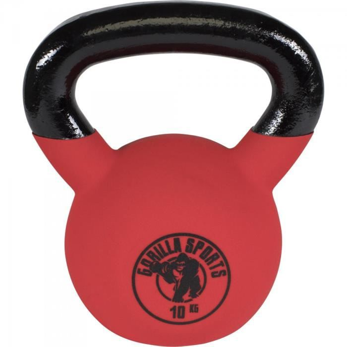 Gorilla Sports - poids Kettlebell fonte néoprène 2Kg à 32kg - 10 KG Noir