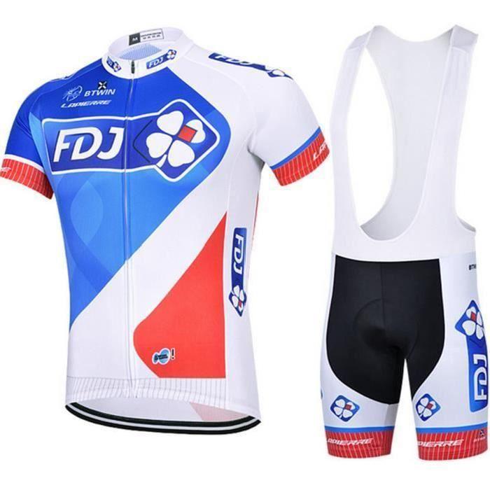 FDJ Maillot de Cyclisme Manches Courtes + Cuissard avec bretelle Vélo Ville Homme Ensemble de Vêtement Selle de silicone VTT