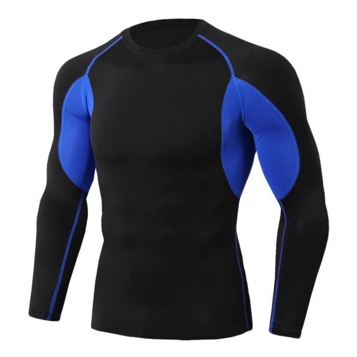 Tee Shirt De Sport Pour Homme Manches Longues Haut De Compression Base Layer Séchage Rapide TC81 XL