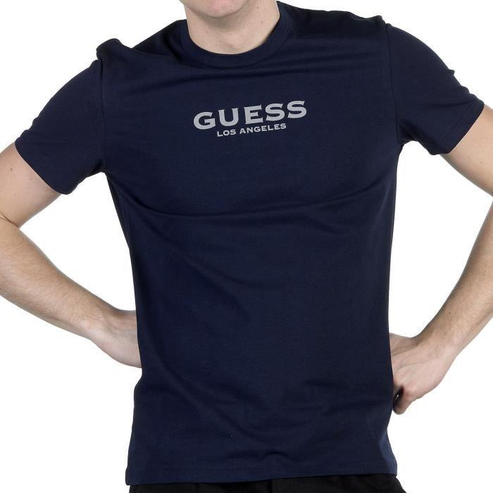 GUESS - T-shirt ajusté Bleu nuit col rond - Homme