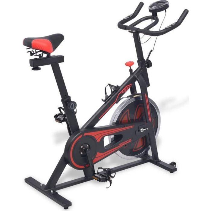 Vélo d'appartement avec capteurs de pouls Noir et rouge Vélo elliptique