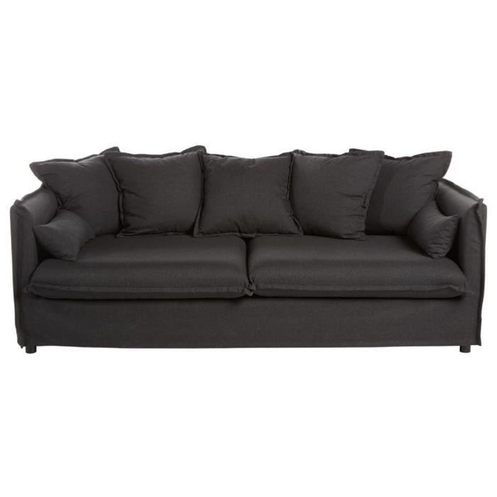 Canapé design 3 places en mousse polyuréthane 18kg-m3 coloris gris anthracite, l 210 x P 104 x H 78-69 cm