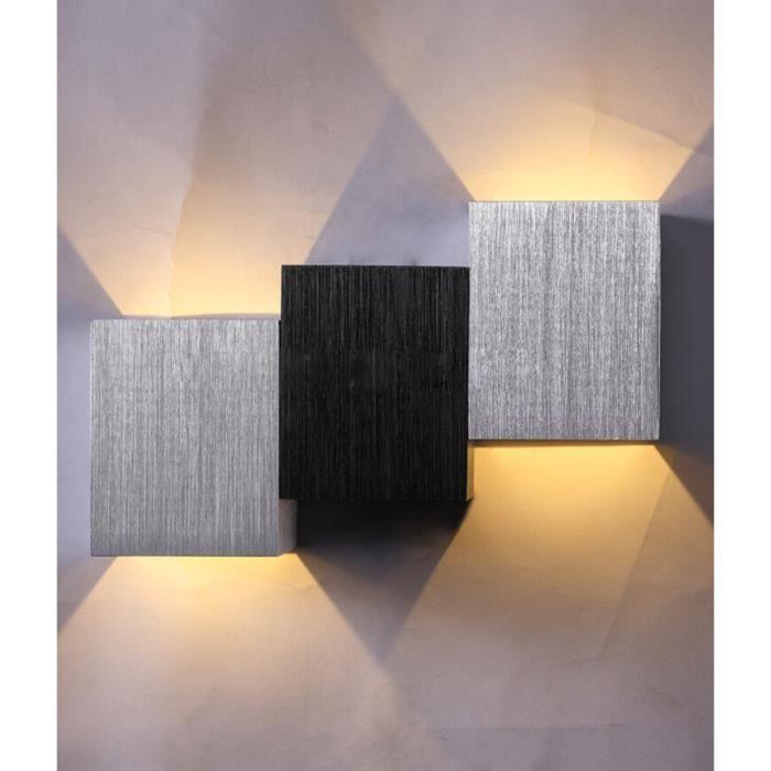 Lot de 2 Applique murale en forme de carré en aluminium LED pour intérieur salon chambre cuisine décoration l'éclairage d'intérieur
