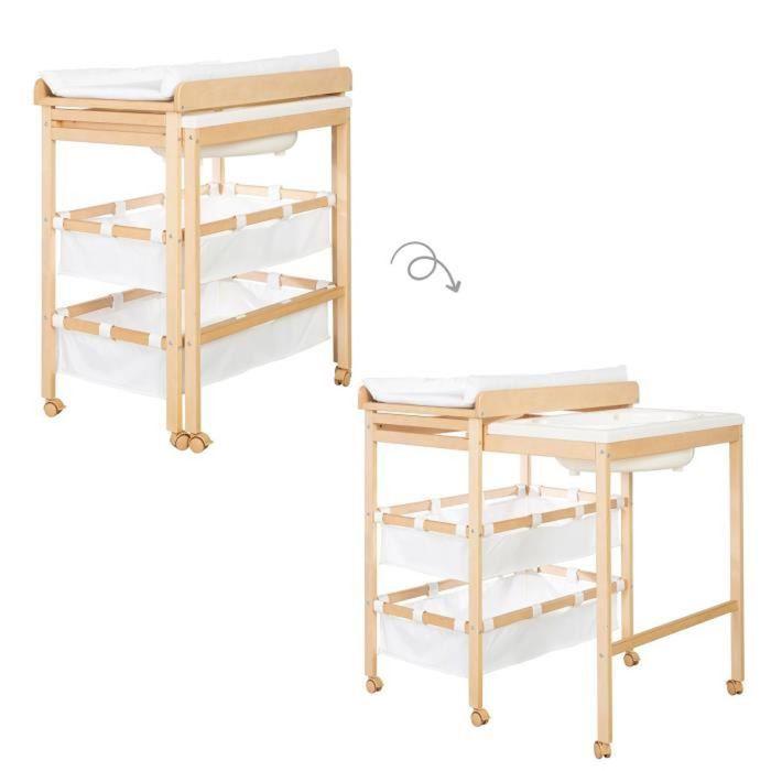 ROBA Table à langer et baignoire coulissante -Baby Pool- Structure en bois naturel et accessoires en blanc