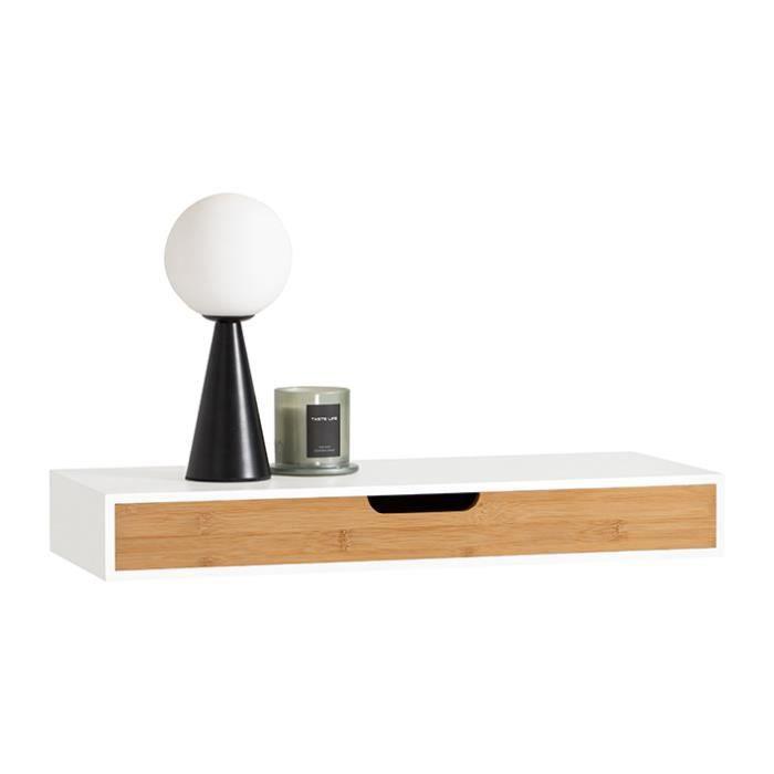 SoBuy® FRG93-WN Étagère murale avec tiroir en bois et bambou, Armoire à clés, Porte-clés Meuble d'entrée de rangement