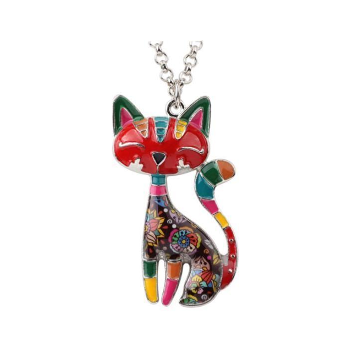 collier femme fantaisie chat