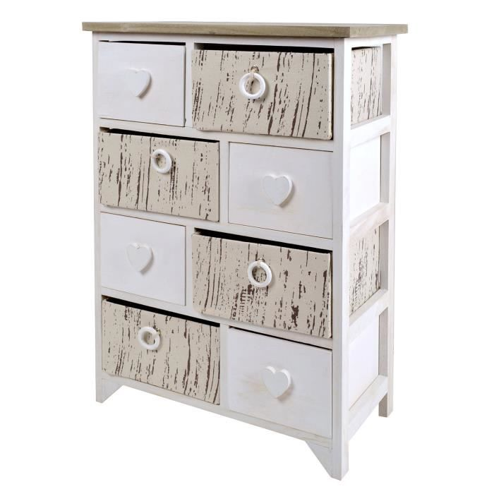 commode couloir style de la ferme armoire de toilette shabby look vintage blanc c ur gris 8. Black Bedroom Furniture Sets. Home Design Ideas