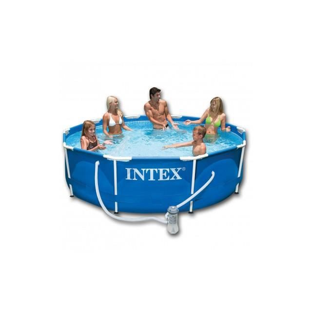 intex piscine ronde avec cadre en acier bleu 366 x 76 cm. Black Bedroom Furniture Sets. Home Design Ideas