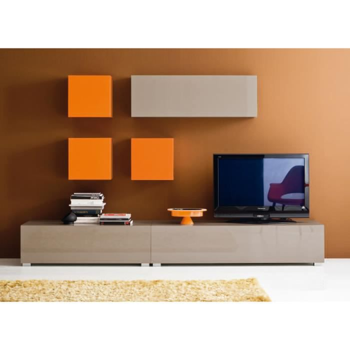 meuble tv laqu mural cube orange achat vente meuble tv meuble tv laqu mural cube. Black Bedroom Furniture Sets. Home Design Ideas