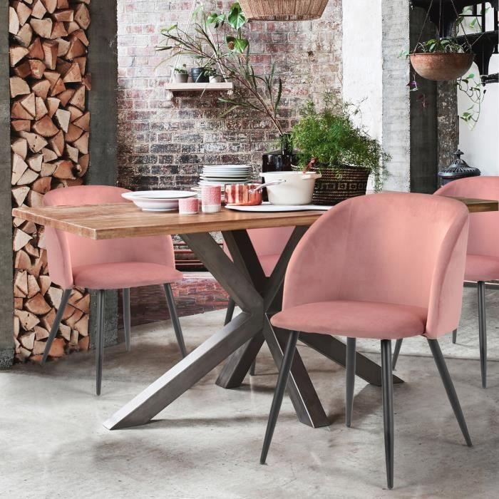 Lot De 2 Chaise Fauteuil Design Velours Rose Pieds Metal Noir