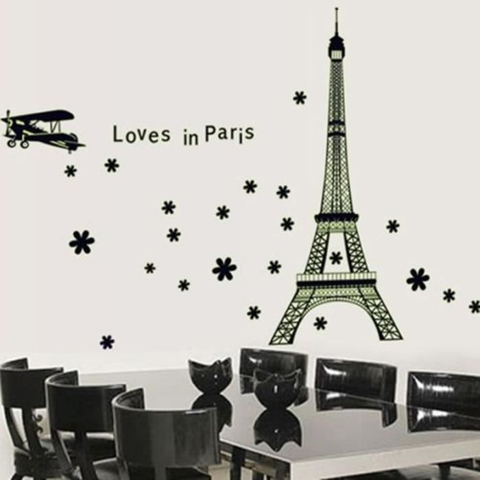 stickers muraux tour eiffel achat vente stickers muraux tour eiffel pas cher les soldes. Black Bedroom Furniture Sets. Home Design Ideas