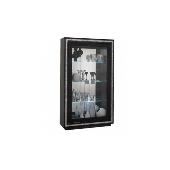 vitrine 2 portes prestige noir clairage led achat vente vitrine argentier vitrine 2. Black Bedroom Furniture Sets. Home Design Ideas