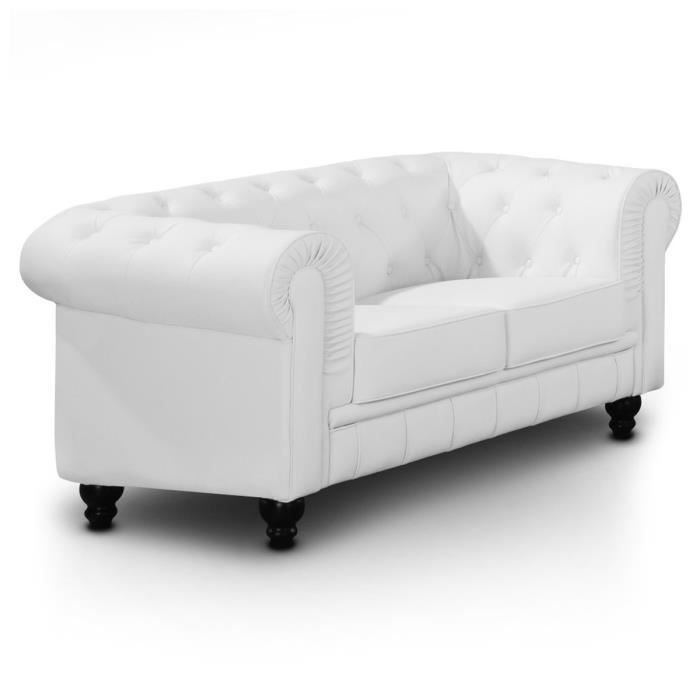 Chesterfield 2 places blanc l gance et design achat vente canap sof - Canape chesterfield convertible 2 places ...