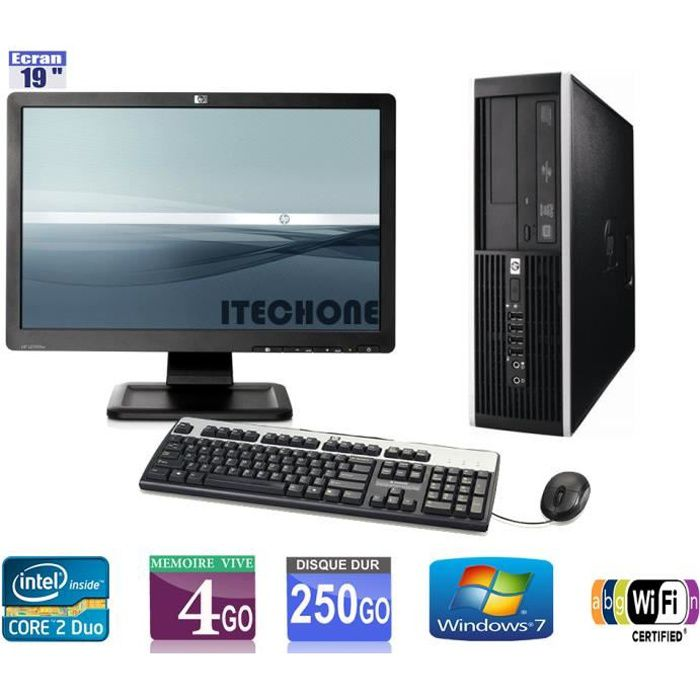 pc de bureau hp 6000 pro 2 duo 3 00 ghz ram 4 go hdd 250 go wifi ecran hp 19