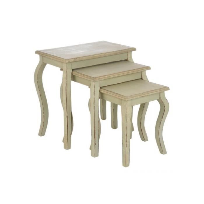 Set de 3 tables gigognes bois vert 56x34x58cm j achat for Set de table en bois