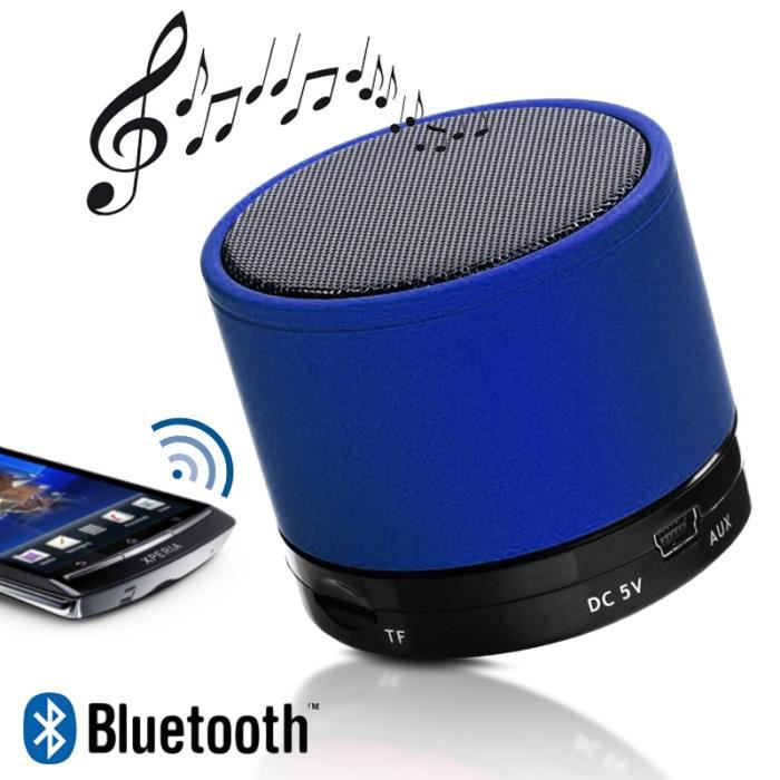 mini enceinte bluetooth speaker mp3 bleu smartphone tablette apple samsung sony archos. Black Bedroom Furniture Sets. Home Design Ideas