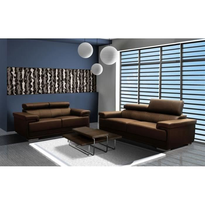 canap 3 2 croute de cuir reconstitu galaxy chocolat achat vente canap sofa divan cuir. Black Bedroom Furniture Sets. Home Design Ideas