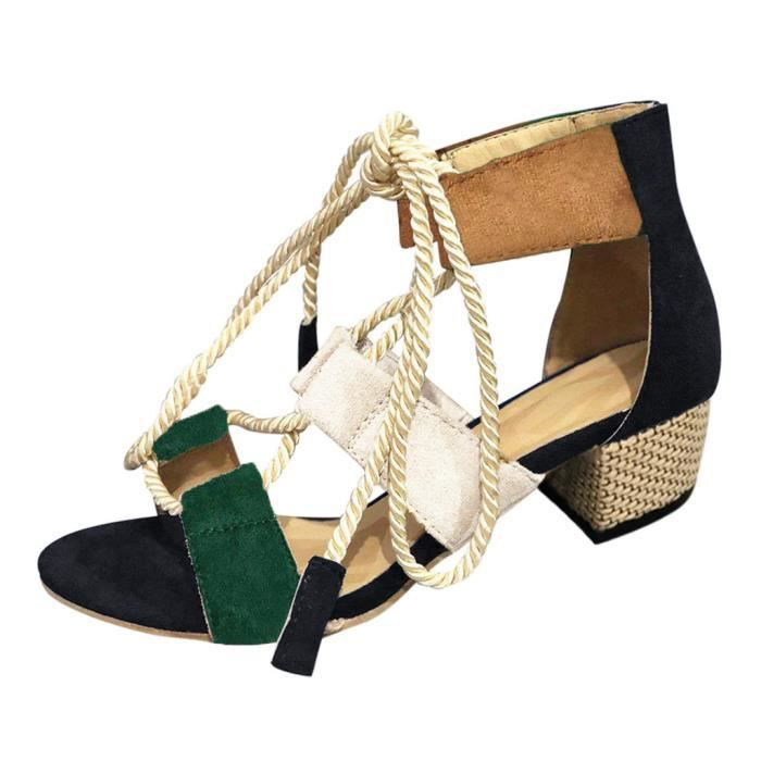 dames de femmes élégant bracelet couleur mixte lacent carrés de sandales à talons Chaussures Roman Noir