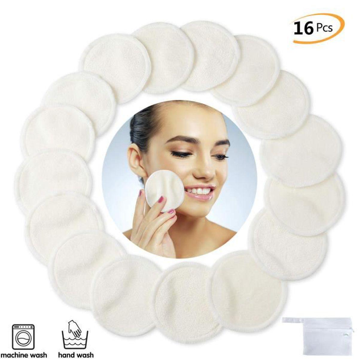 Coton d/émaquillant lavable Lingette demaquillante r/éutilisable Biologique Sac /à linge Tampons Ronds en fibre de bambou D/émaquillants disques coton demaquillant