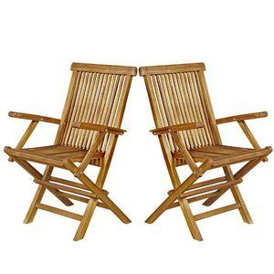 FAUTEUIL JARDIN  Lot de 2 fauteuils de jardin pliants en teck huilé
