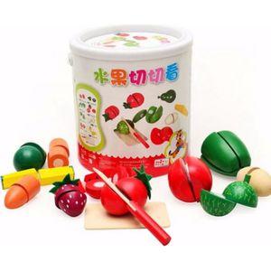 DINETTE - CUISINE Légumes fruits en bois cuisine jouet de coupe avec