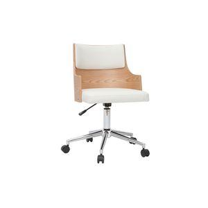 CHAISE DE BUREAU Miliboo - Chaise de bureau design blanche et bois