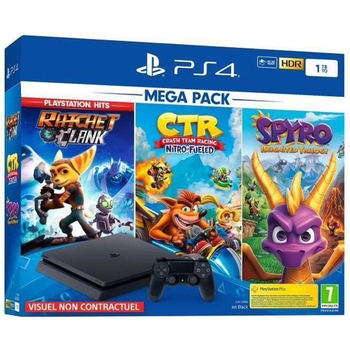 CONSOLE PS4 PS4 Slim 1To Black + Crash Team Racing + Spyro Rei