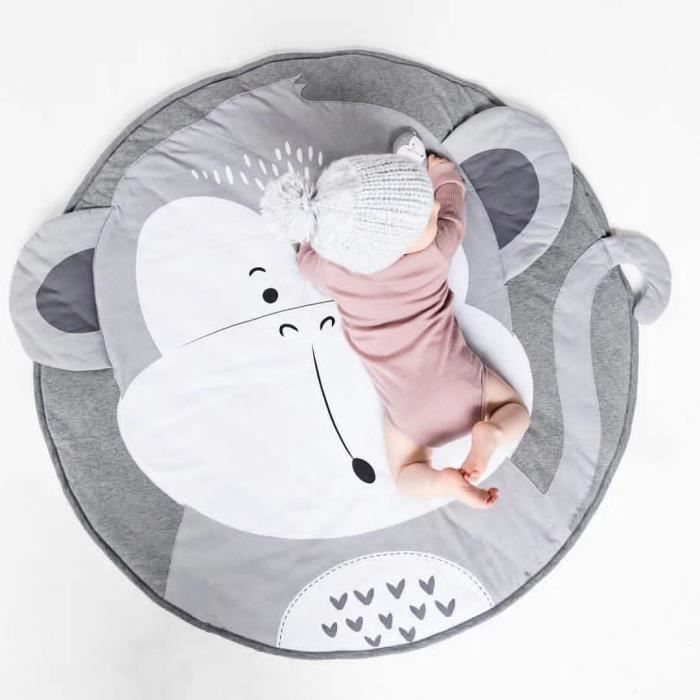 Tapis de Jeu pour Bébé Enfant, Tapis d'Éveil Singe Tapis en Coton de Jeu Pour Bébé Tapis Rond, Bébé Tapis de Couchage 36 x 28 x 7cm
