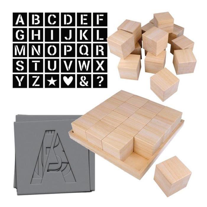 Cubes en bois Alphabet à faire soi-même - 6 cm