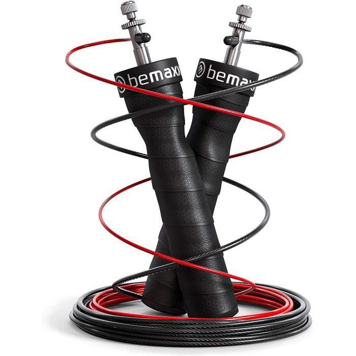Corde à Sauter Ajustable Speed Rope + livret d'Exercices & câble de Rechange - Roulements à Billes Expert, poignées antidérapantes
