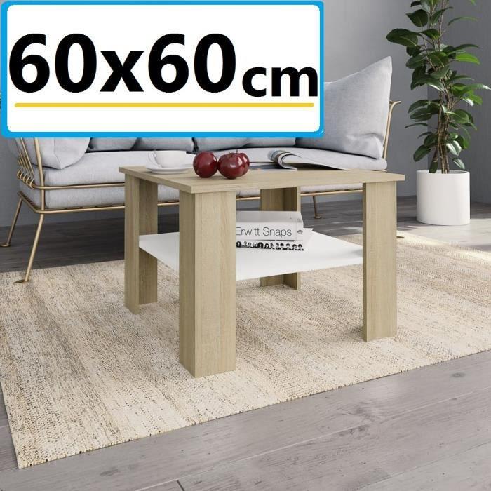 Table Basse De Salon 60x60cm Effet Bois Chêne Sonoma (aggloméré) et Blanc Design Carré