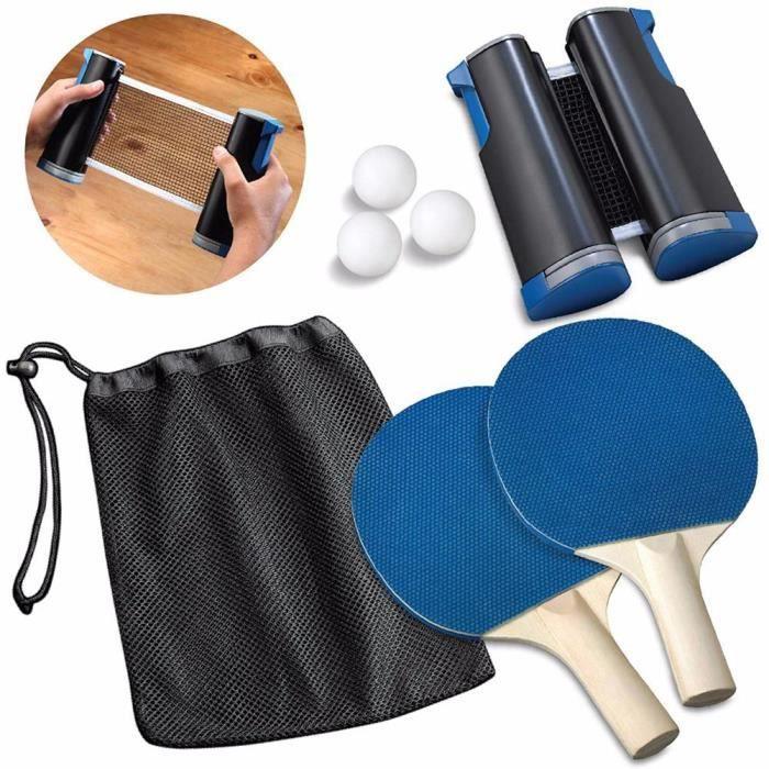 Ensemble de tennis de table Télescopique Net Rack 1 paire de tennis de table Ping Pong