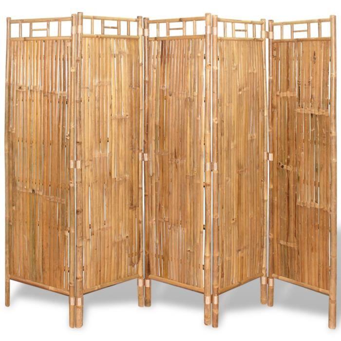 P146 vidaXL Cloison de separation 5 panneaux Bambou 200 x 160 cm