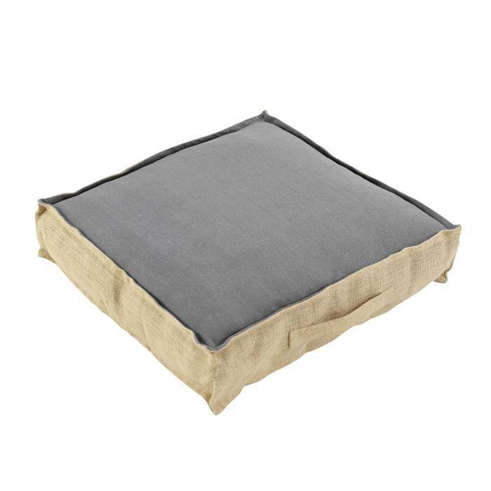 CDaffaires Coussin de sol 45 x 45 x 10 cm coton uni + jute Belita Anthracite