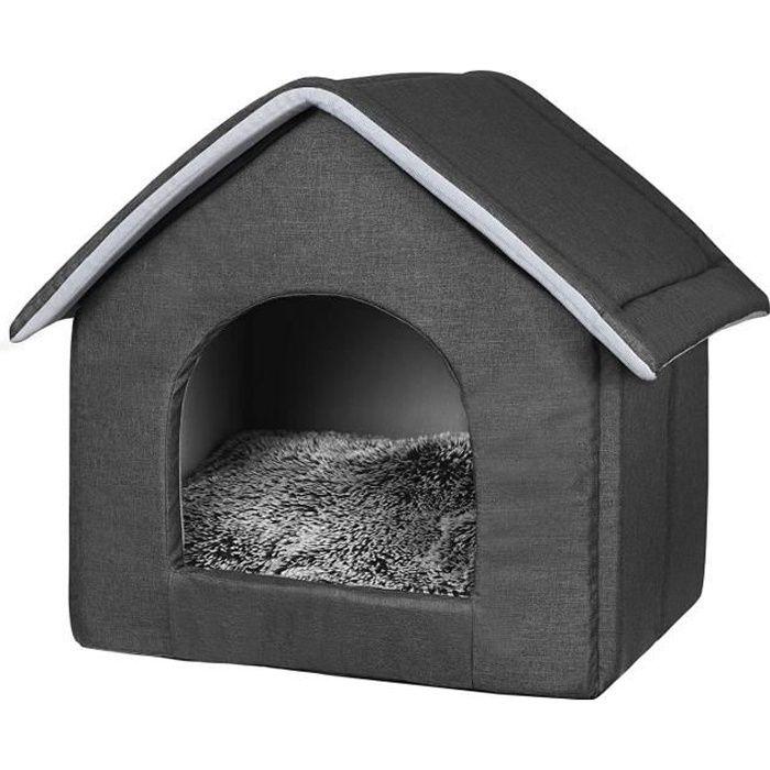 EUGAD Abri douillet Minou pour chat et chien avec Coussin Amovibles,Niche Maison en Tissu Oxford 35x38x35cm,Gris foncé