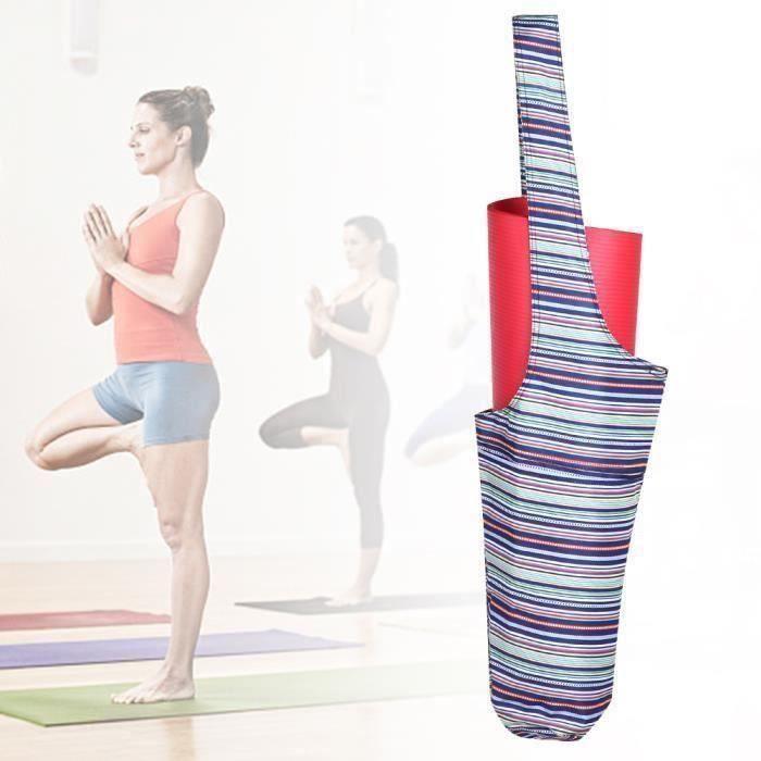 CEN Tapis de yoga portatif en plein air avec sac de transport pour tapis de fitness avec large poche latérale (bleu)