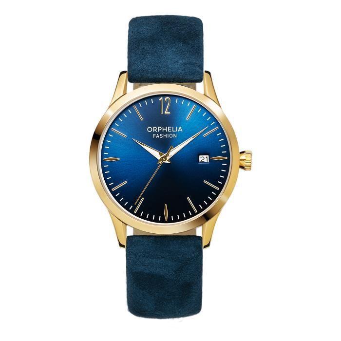 Orphelia Fashion - Montre Femmes - Quartz - Analogique - Bracelet en Cuir - Bleu - OF714823
