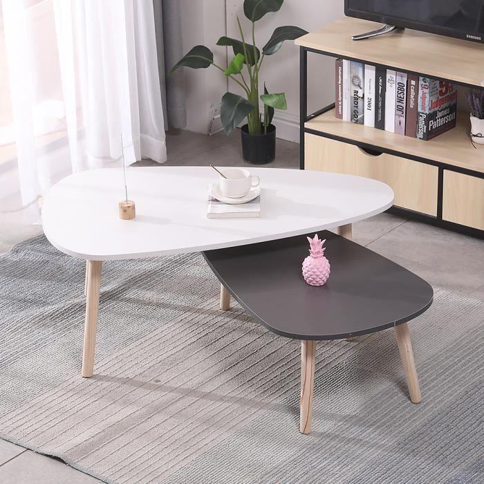 Table basse ovale 2pcs scandinave blanc et gris laqué 98*61* 39cm & 88 * 48*32.5cm