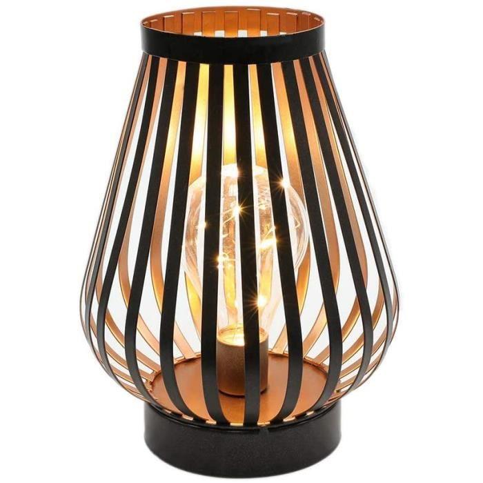 22cm Lampe à cage en métal table LED Bureau à piles sans fil Lampe de chevet décorative avec ampoule Edison Balcon Maison Pati[262]